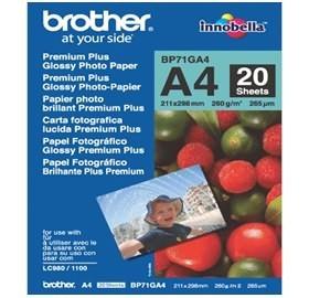Image 1 of Brother Bp71ga4 A4 Premium Plus Glossy Paper (20 Sheets) - 260 Gsm BP-71GA4
