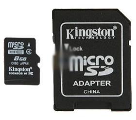 Image 1 of Kingston 8gb Microsd Class4 (sdc4/ 8gbfe) Sdc4/8gb SDC4/8GB