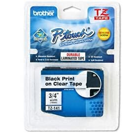 Image 1 of Brother Tze141 P-touch Tape 18mm/ 8 Meter, Black Text On Clear Tape TZE-141