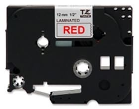 Image 1 of Brother Tze232 12mm Red On White Tz Tape