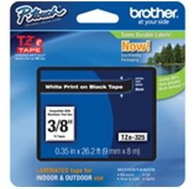 Image 1 of Brother Tze325 9mm White On Black Tz Tape TZE-325