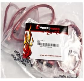 Image 1 of Wicked Wired 60cm SATA Straight To SATA Straight Data Cable 10 Pack WW-D-SATA60CM10X WW-D-SATA60CM10X