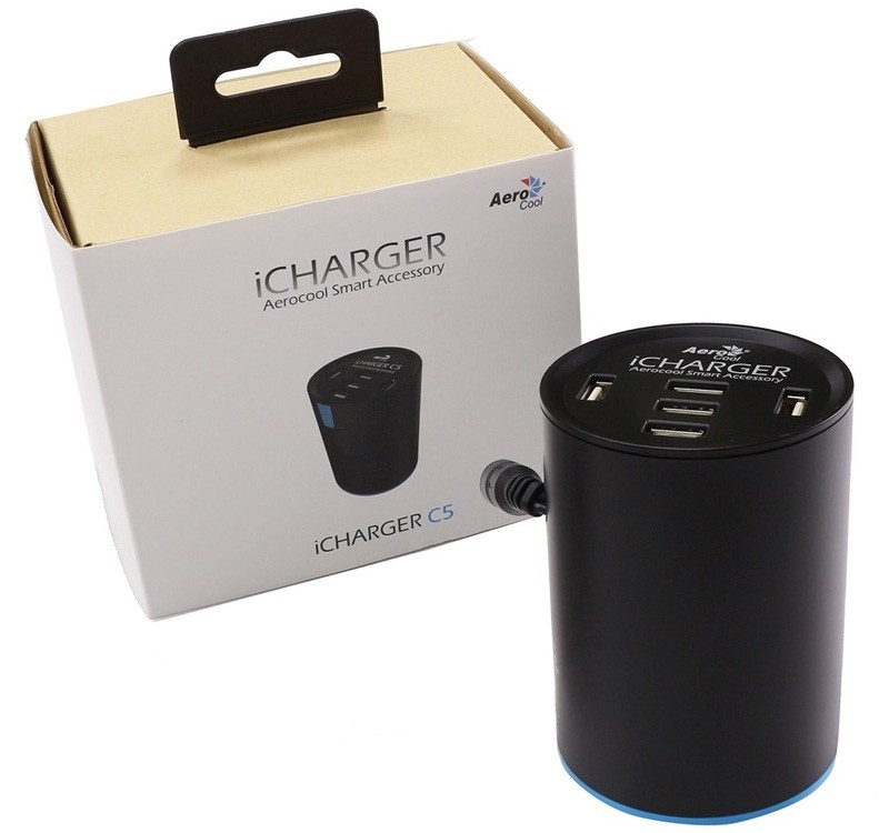 Image 1 of Aerocool iCharger C5 5-Port USB Car Charger, 2.4A Fast Charger With Smart IC, Total 10A 50w iCharger C5