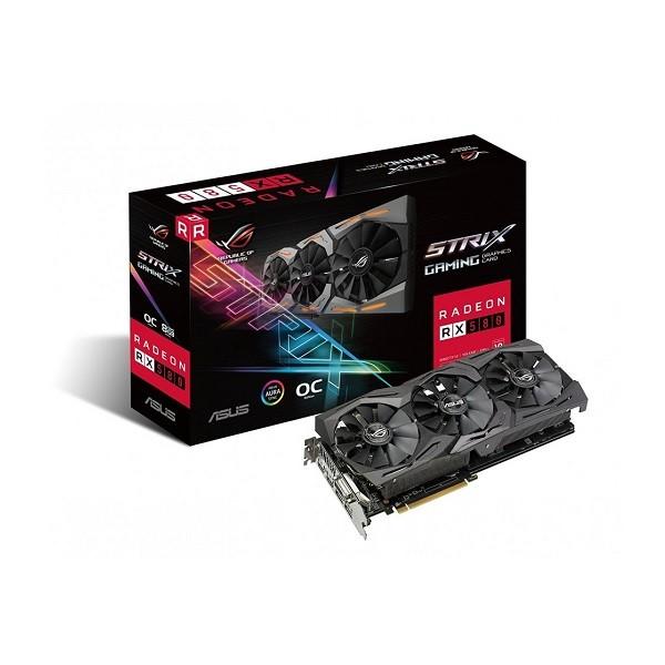 Image 1 of Asus Rog Strix Radeon Rx 580 O8g Gaming Oc Edition Gddr5 Dp Hdmi Dvi Vr Ready Amd Graphics [90yv0ak0-m0na00] ASUS-90YV0AK0-M0NA00