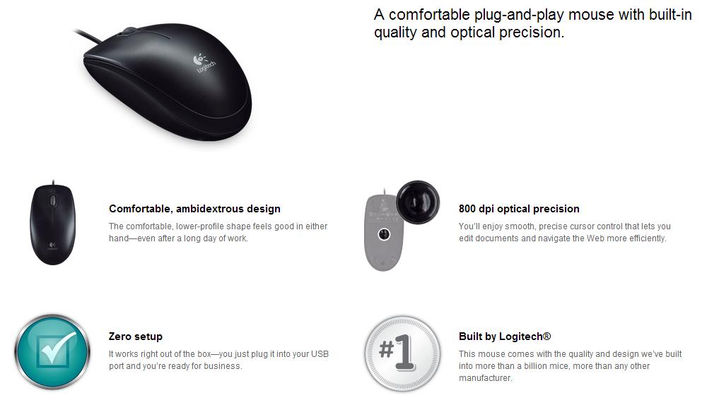 d1db6d686c8 image else for Logitech 910-001439: Logitech B100 Optical Usb Mouse  Logmosb100 LOGMOSB100