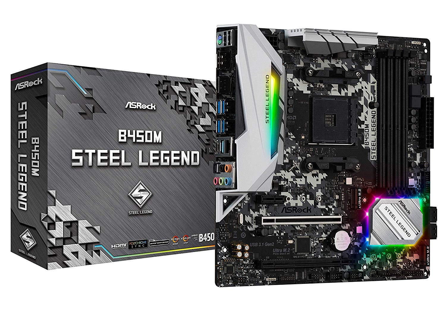 Image 1 of Asrock B450M Steel Legend Amd Am4 Matx Mb B450M-Steel Legend B450M-STEEL LEGEND