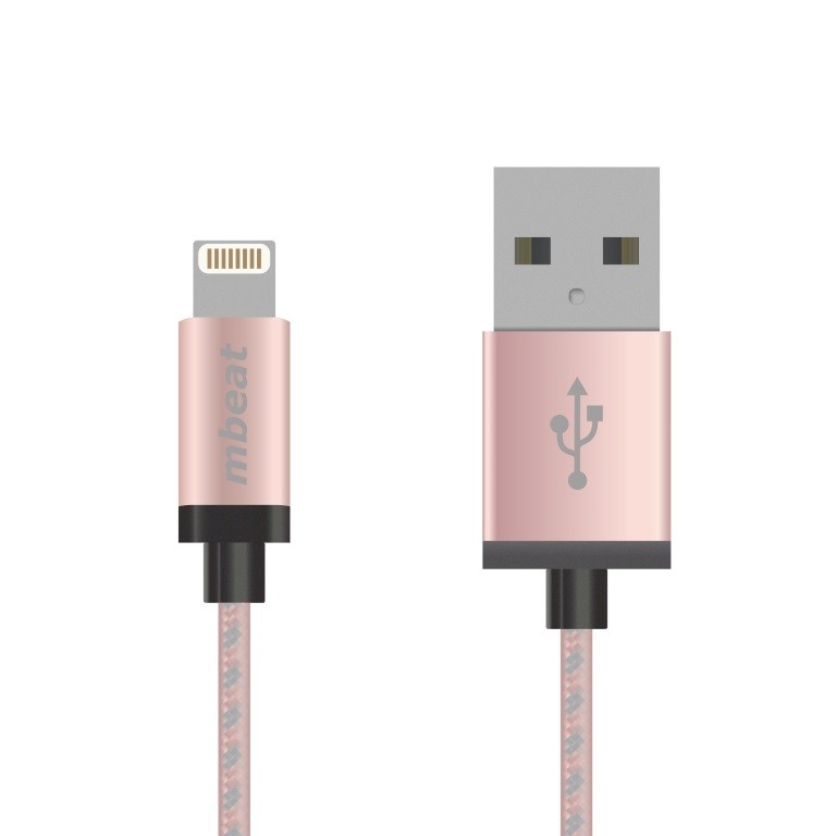 Image 1 of Mbeat Lightning Cable With Rose Gold Nylon Braided In 2M Mb-Icab-2R MB-iCAB-2R