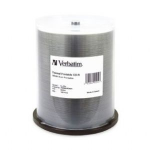 Image 1 of Verbatim Cd-R 700Mb 100Pk White Wide Thermal 52X - 95254 95254 95254