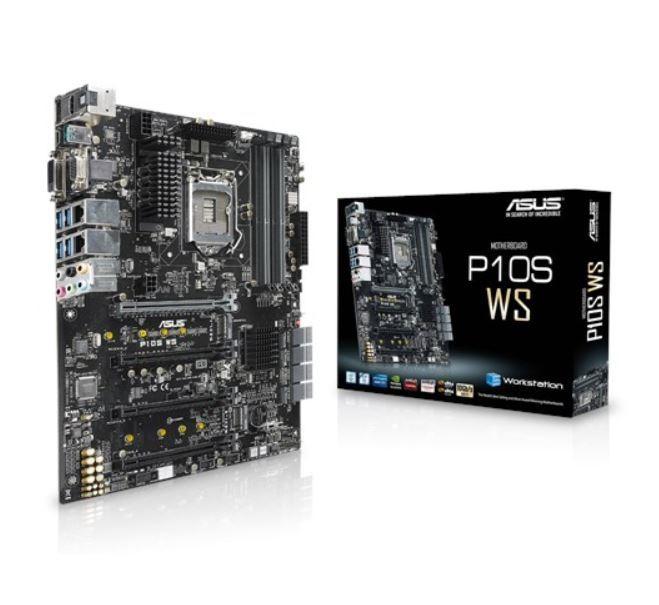 Image 1 of Asus P10s Ws Atx Mb 4xddr4 4xpcie 2xm.2 8xsata Raid 5xusb3.0 1xusb Typec 2xlan Ports 1xdvi 1xdp P10S WS