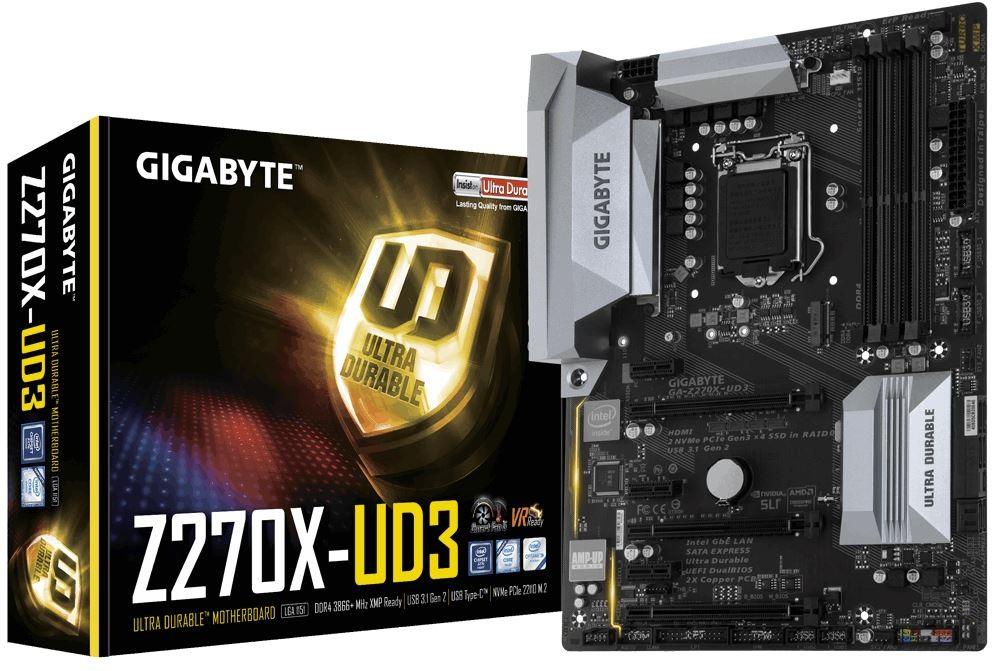 Image 1 of Gigabyte GA-Z270X-UD3 LGA1151 ATX Motherboard 4xDDR4 1xPCIEx16 RAID 0/ 1/ 5/ 10 1xM.2 HDMI 6xSATA3 GA-Z270X-UD3