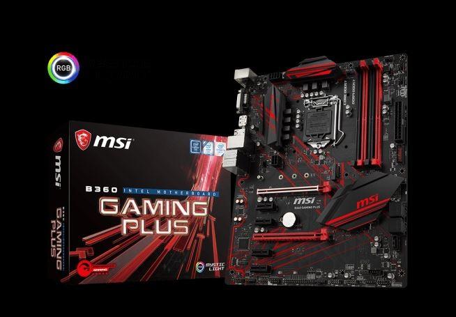 Image 1 of Msi B360 Gaming Plus Atx Gaming Motherboard - S1151 8gen 4xddr4 6xpci-e 1xm.2 4xusb3.1 2xusb2.0 1xdp B360 GAMING PLUS