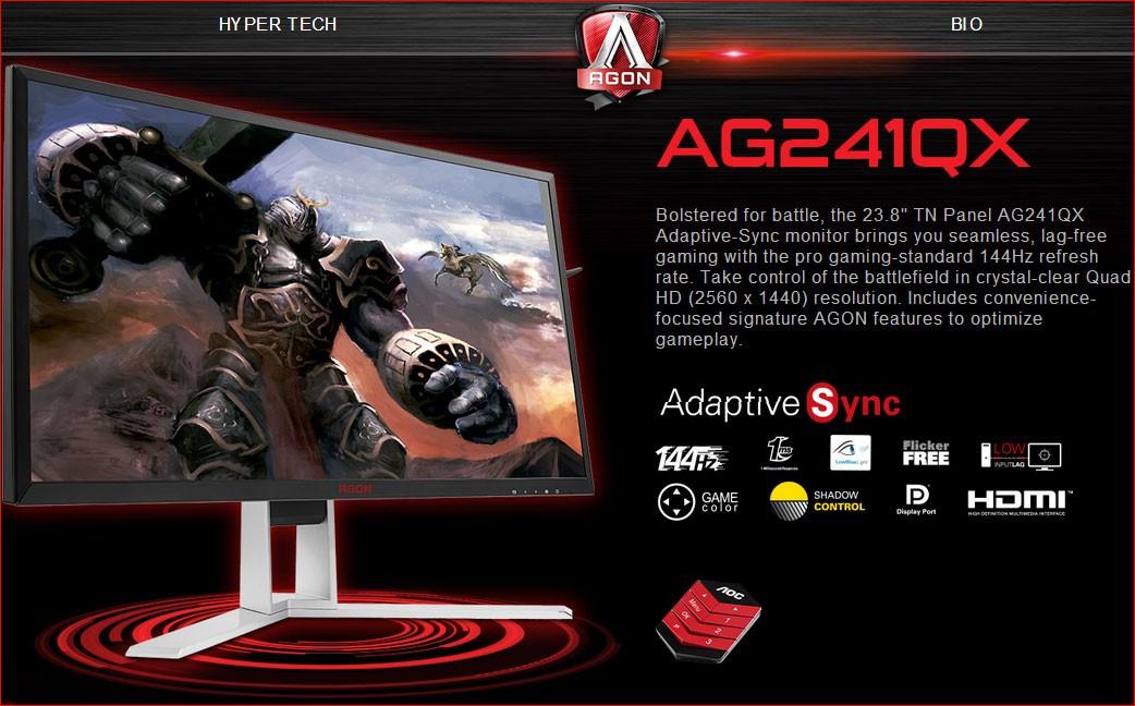 """Image 1 of AOC AGON 23.8"""" 1ms 144Hz 2560x1440 FreeSync Gaming Monitor w/ HAS - HDMI2.0/ DP/ DVI/ VGA, Hub/ AG241QX/75"""