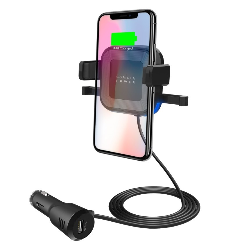 Image 1 of Mbeat Gorilla Power 10W Wireless Car Charger With 2.4A Usb Charging Air Vent Clip & Windshield MB-WCS-02