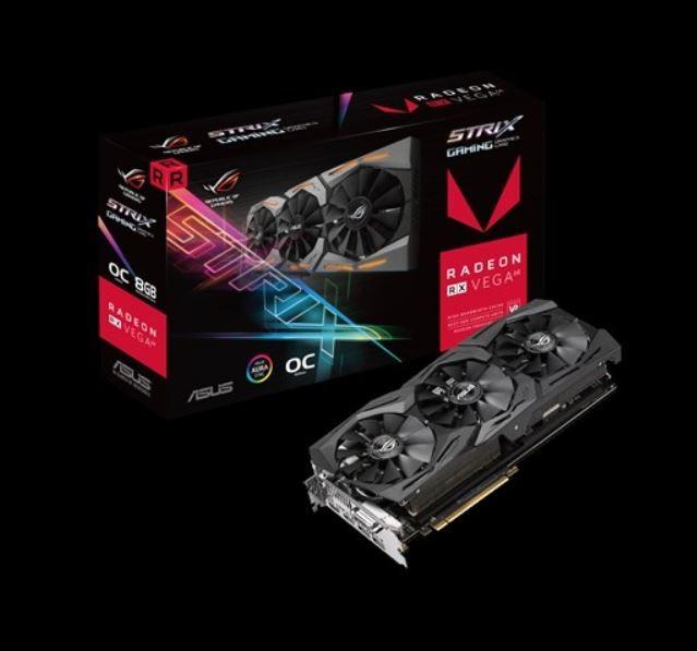 Image 1 of Asus Amd Radeon Rog-strix-rxvega64-o8g-gaming Ddr5 Pcie Vidro Card 7680x4320 1xdvi 2xhdmi 2xdp Rog-strix-rxvega64-o8g-ga ROG-STRIX-RXVEGA64-O8G-GAMING