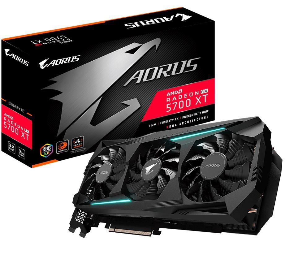 Image 1 of Gigabyte Aorus Radeon Navi Rx 5700 Xt 8Gb Gddr6 Pcie Graphic Card 8K 7680X4320@60Hz 6Xdisplays 3Xdp 3Xhdmi 2010/ 1770Mhz Freesync Rgb2.0 Gv-R57Xtaorus-8Gd GV-R57XTAORUS-8GD
