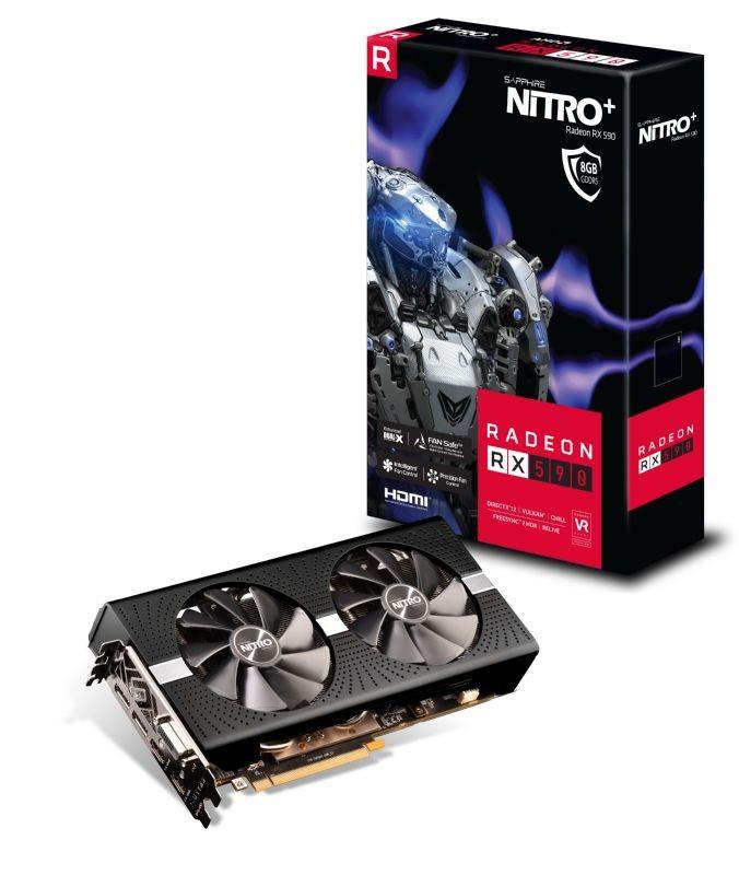 Image 1 of Sapphire Nitro+ Amd Radeon Rx 590 8G Gddr5 Dual Hdmi/ Dvi-D/ Dual Dp W/ Bp Oc (Uefi) 1560Mhz/ 2100Mhz 11289-05-20G