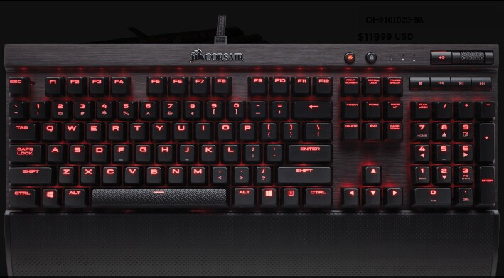 Corsair K70 Lux Red Led Cherry Mx Red 100% Mechanical Switch Keyboard  Ch-9101020-na