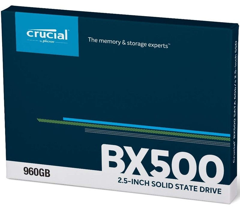 """Image 1 of Crucial 960GB BX500 3D NAND 2.5"""" SATA SSD CT960BX500SSD1, 540Mb/s, Acronis True Image HD Software CT960BX500SSD1"""