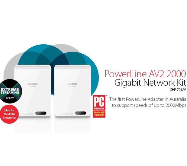Image 1 of D-LINK PowerLine AV2 2000 Gigabit Network Kit DHP-701AV 209172 DHP-701AV