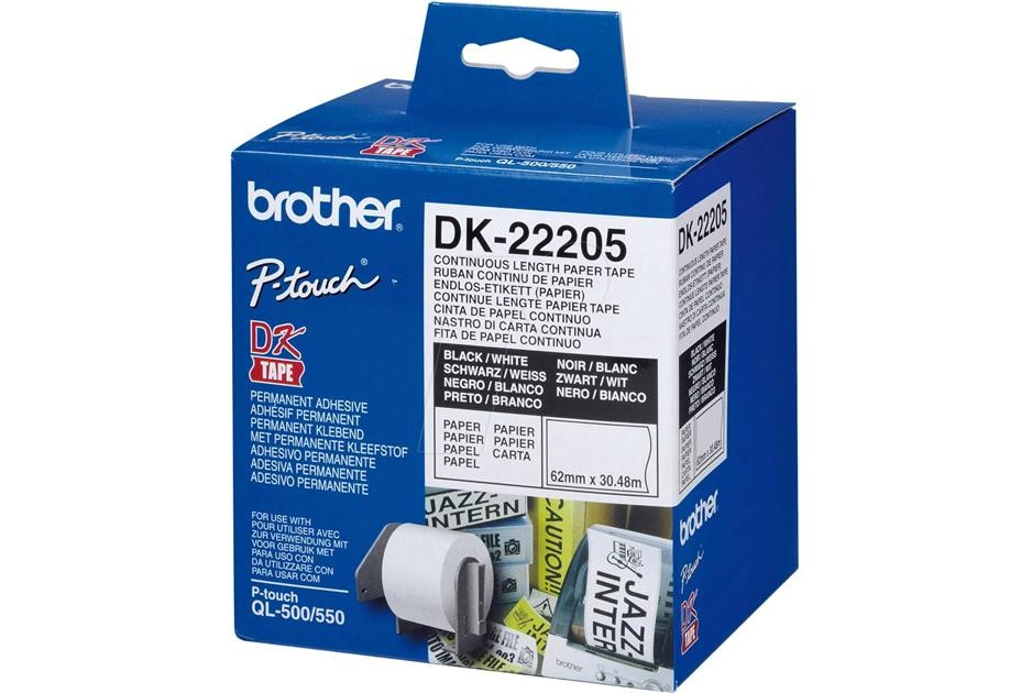 Image 1 of Brother Dk22205 White Continuous Paper Roll 62mm*30.48m DK-22205