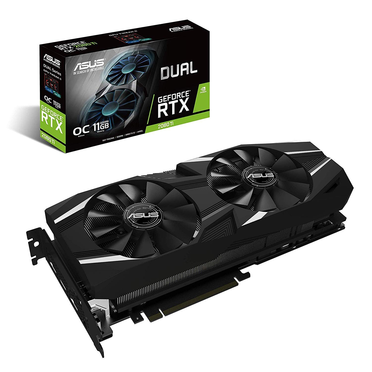 Image 1 of Asus Geforce Rtx 2080 Ti O11G Dual-Fan Oc Edition Gddr6 Hdmi Dp 1.4 Usb Type-C Graphics Card DUAL-RTX2080TI-O11G