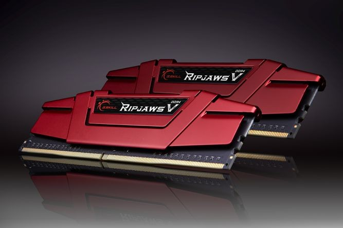 Image 1 of G.skill Dual Channel: 8gb (2x4gb) Ddr4-2400 [ripjawsv] Blazing Red F4-2400c15d-8gvr F4-2400C15D-8GVR