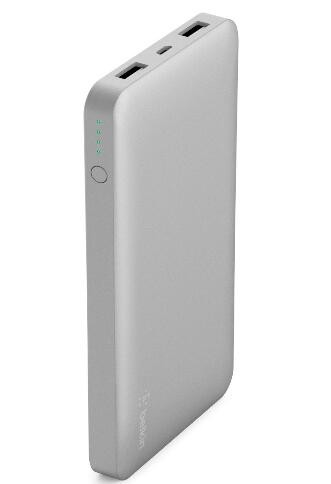 Image 1 of Belkin Pocket Power Bank 10000 Mah Usb A (2) Mirco Usb (1) Silver F7U039Btslv F7U039BTSLV