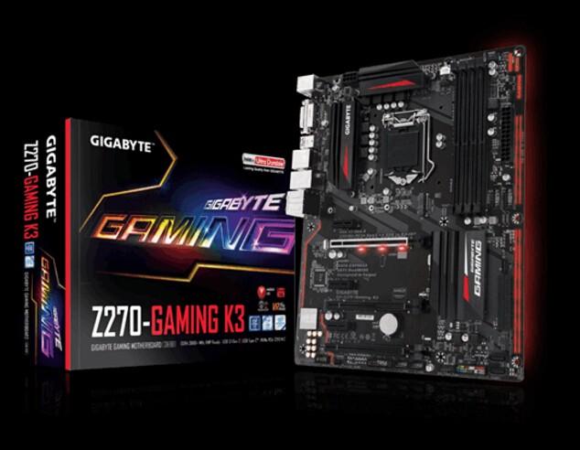 Image 1 of GIGABYTE Intel Z270, 4 x DDR4 DIMM, LGA1151, 6 x SATA 6Gb/ s, 4 x USB3.1, 1 x DVI-D, 1 x HDMI, GA-Z270-GAMING-K3