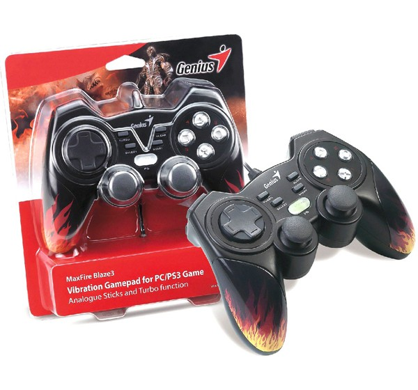 Image 1 of Genius Maxfire Blaze3 Vibration Gamepad For Pc/ Ps2/ Ps3 Games, Vibration Feedback, Turbo, Usb, 84302 Blaze3