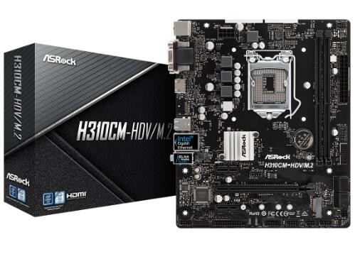 Image 1 of Asrock Intel H310 Chipset Micro Atx Pcie X16 M.2(1 Ssd) Hdmi Dvi-d D-sub Usb 3.1 Intel I219v 3 H310CM-HDV/M.2
