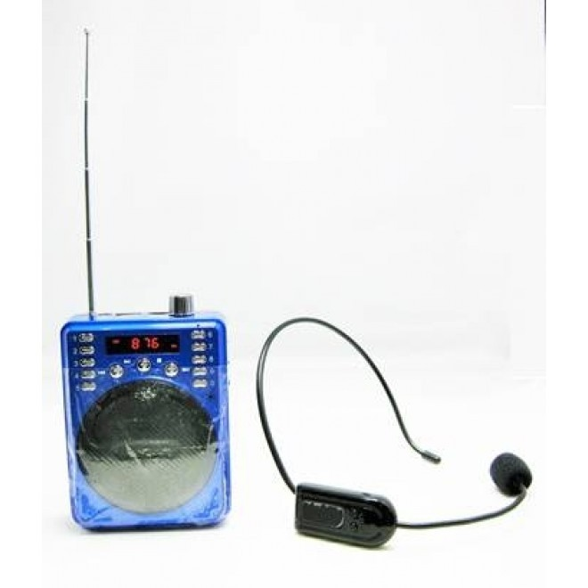 Image 1 of Portable Non-Bluetooth Voice Amplifier Includes Wireless Fm Headset & Wired Headset (Blue) Eledigf37Bwu-1 ELEDIGF37BWU-1