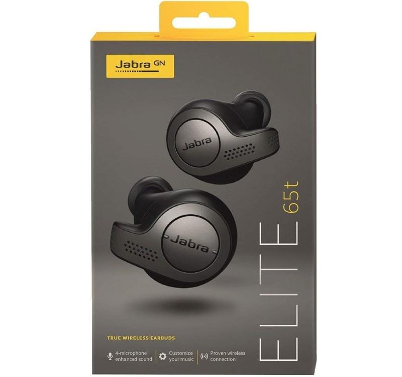 Image 1 of Jabra Elite 65t True Wireless Earbuds & Charging Case Titanium Black 100-99000000-40