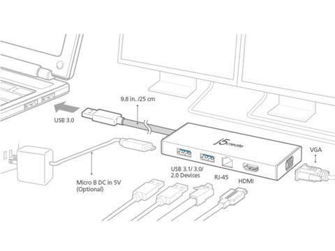 J5create Jud380 Usb 3 0 Mini Dock Adapter Includes Hdmi Vga