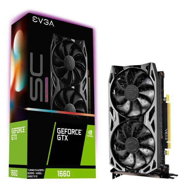 Image 1 of EVGA GeForce GTX 1660 SC ULTRA GAMING, 06G-P4-1067-KR, 6GB GDDR5, Dual Fan, Metal Backplate| 06G-P4-1067-KR 06G-P4-1067-KR