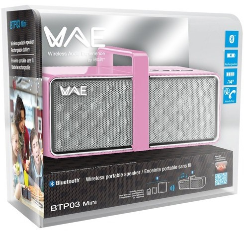 Image 1 of Hercules BTP03 Mini Bluetooth Rechargeable Portable Speaker with Built-In Speakerphone Pink 4780747
