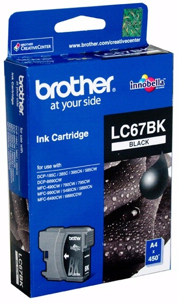 Image 1 of Brother Lc67bk Black Ink Cartridge For Dcp-385c