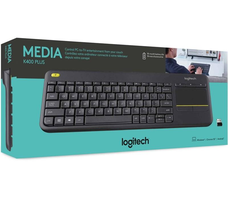 Image 1 of Logitech K400 Plus Wireless Keyboard with Touchpad & Media Keys for PC 920-007165 920-007165