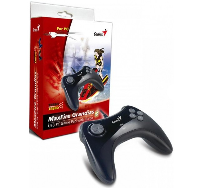 Image 1 of Genius Maxfire Grandias Usb Game Pad, 8-way D-pad, 8 Action Buttons/ 4 Side Buttons, Turbo Function MaxFire Grandias