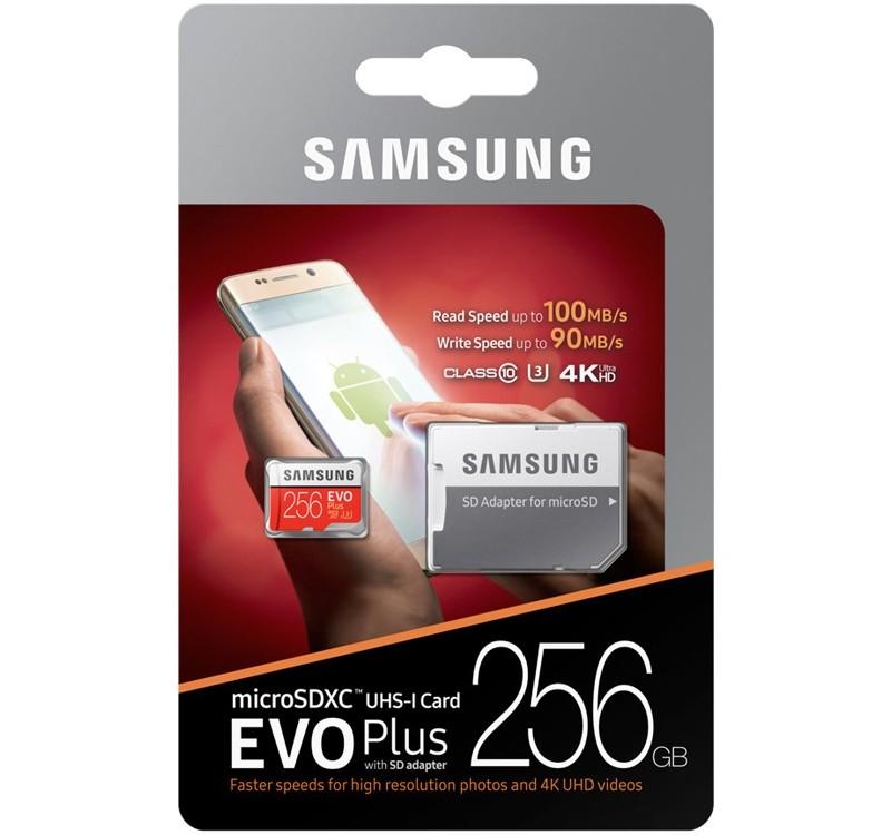 Image 1 of Samsung EVO Plus 256GB Class 10 Micro SDXC With SD Adapter MB-MC256DA, 100MB/s, 4K, U3 MB-MC256DA