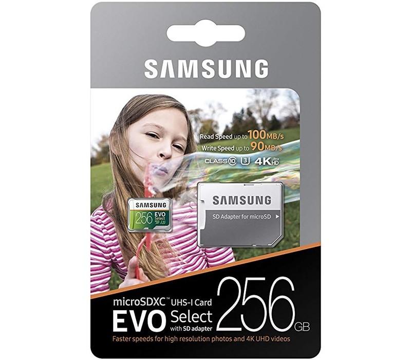 Image 1 of Samsung Evo Select 256GB Micro SDXC with Adapter, 100MB/s, U3, MB-ME256GA MB-ME256GA