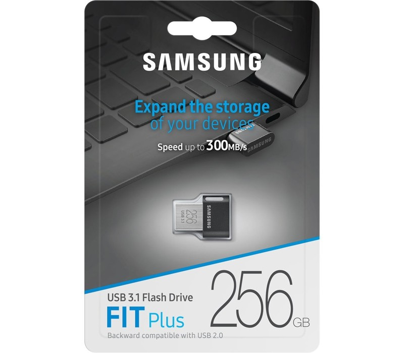 Image 1 of Samsung 256GB FIT Plus USB3.1 Flash Drive, up to 300 MB/s, Compact Fit, Plug in and Stay MUF-256AB