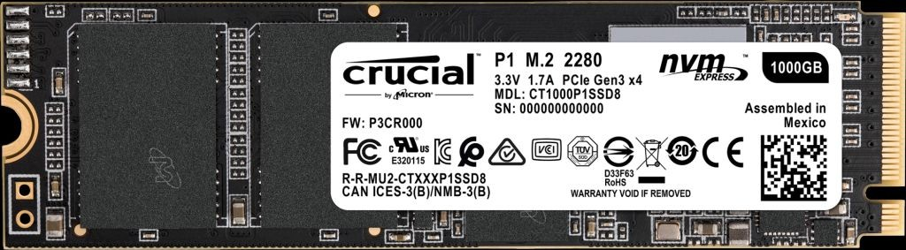Image 1 of Crucial P1 1tb 3d Nand Nvme Pcie M.2 Ssd [ct1000p1ssd8] 5yr Wty Ct1000p1ssd8 CT1000P1SSD8