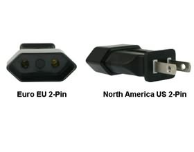 Image 1 of Euro Eu To Us 2-pin Power Plug Adapter PA-1122