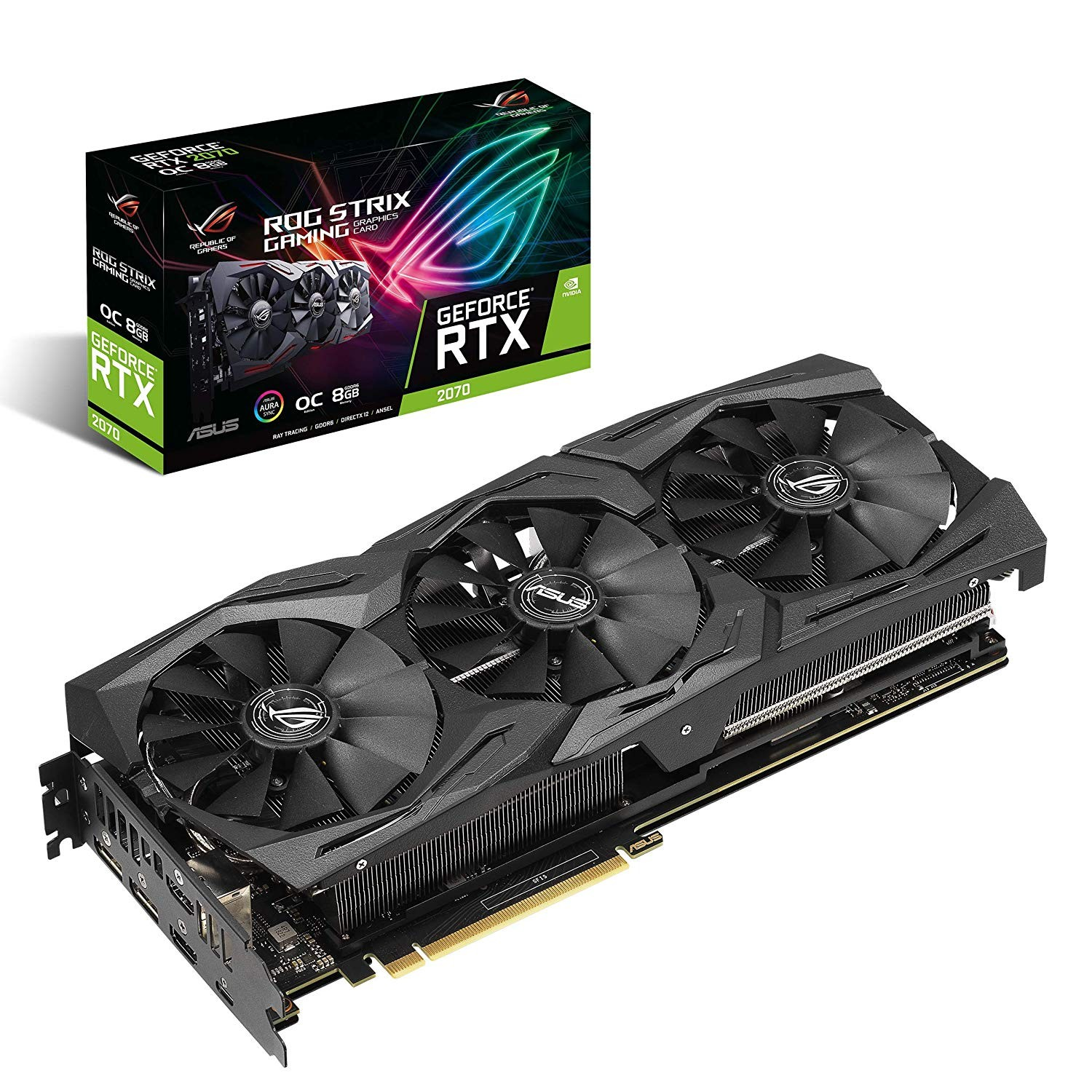 Image 1 of Asus Rog Strix Geforce Rtx2070 Oc Edition 8gb Gddr6 With Powerful Cooling For Higher Refresh Rates 90YV0C90-M0NA00