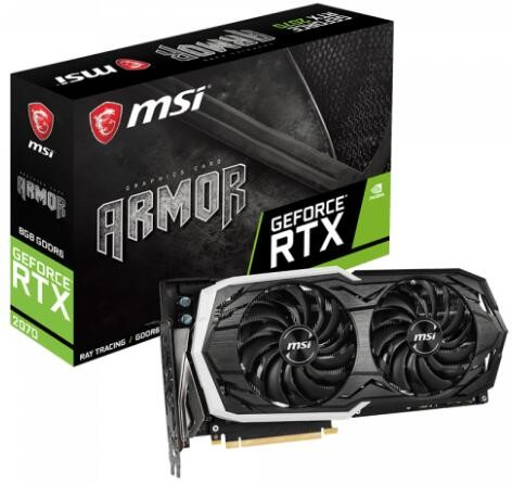 Image 1 of Msi Geforce Rtx 2070 Armor 8G Ddr6 Nvidia Graphic Card Rgb Mystic Armor Thermal Boost Clock