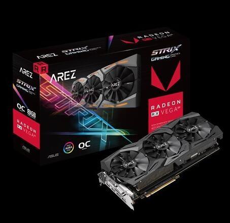 Image 1 of ASUS ROG Strix Radeon RX VEGA64 gaming graphics card with ASUS Aura Sync 90YV0B00-M0NA00 90YV0B00-M0NA00