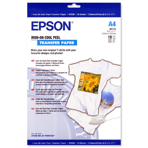Image 1 of Epson S041154 Iron On Transfer Paper A4 10 Sheets C13S041154