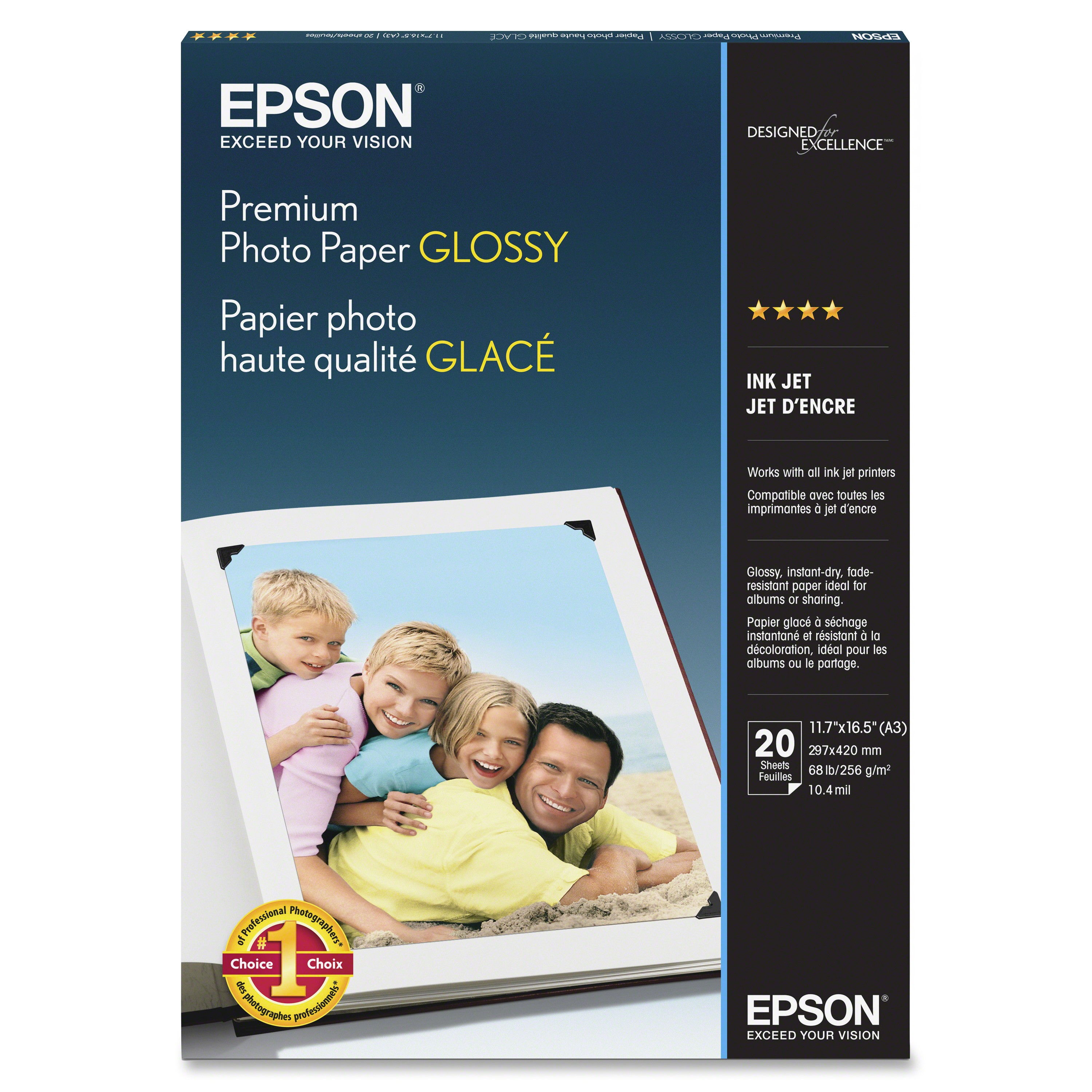 Image 1 of Epson S041288 Premium Glossy Photo Paper A3 20 Sheets C13S041288