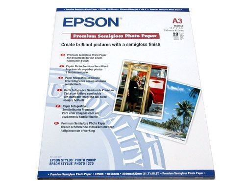 Image 1 of Epson S041334 A3 Semigloss Photo Paper 20 Sheets C13S041334