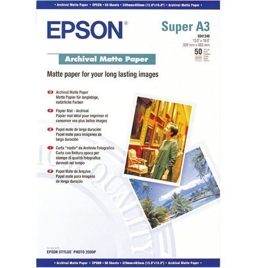 Image 1 of Epson S041340 A3+ 329x483mm Archival Matte Paper 50 Sheets C13S041340